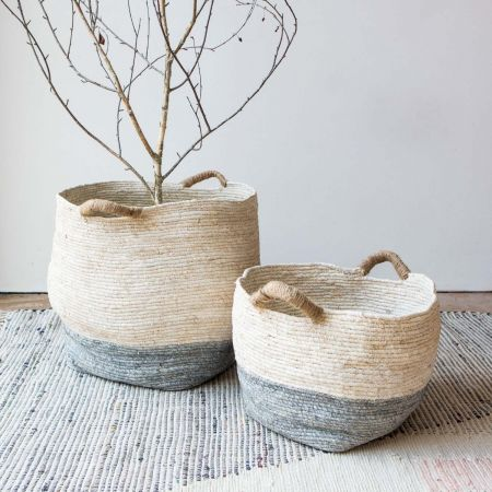 Set of Two Short Grey and White Baskets