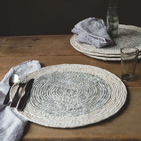 Set of Four White Seagrass Placemats