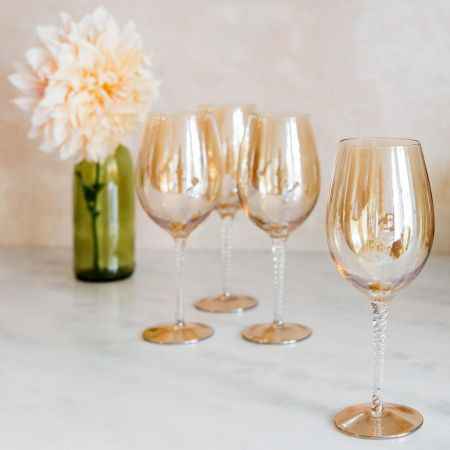 Set of Four Amber Wine Glasses