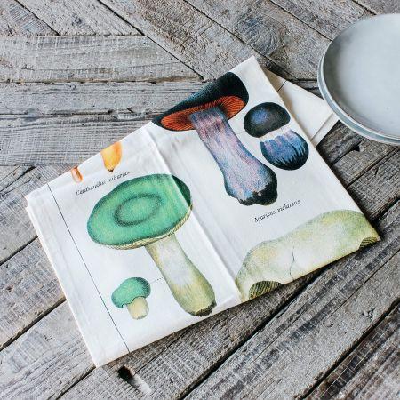 Mushrooms Vintage Tea Towel