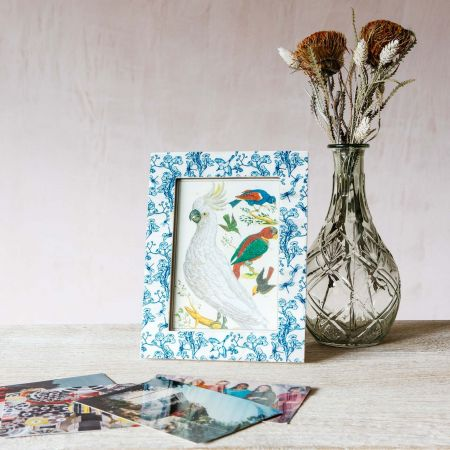 Light Blue Floral Print Bone Frame