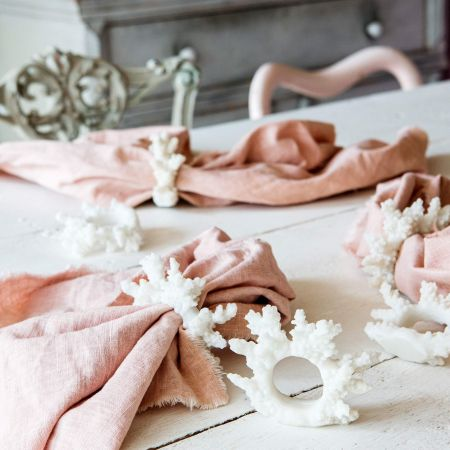 Set of Six Faux Coral Napkin Rings