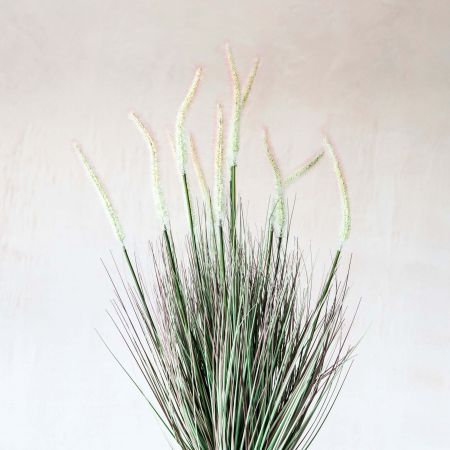 Faux Grass and Cattail in Pot