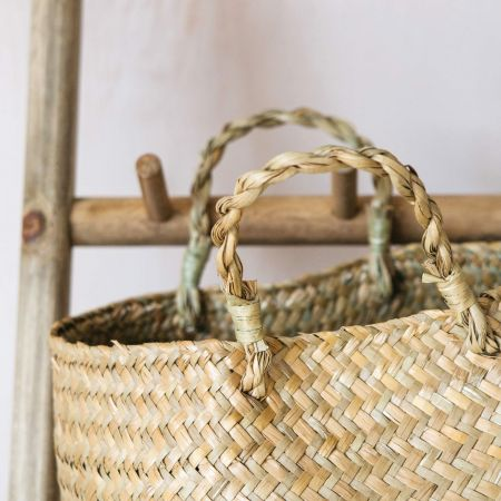 Set of Two Natural Grass Baskets