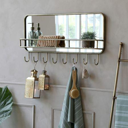 Alvis Mirror Shelf with Hooks