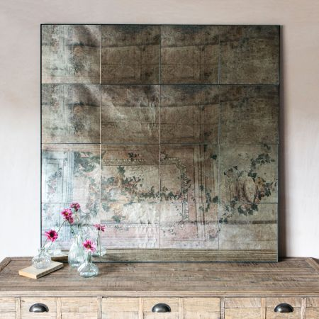 Antiqued Squares Wall Mirror