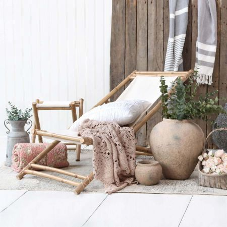 Ivory Bamboo Deck Chair