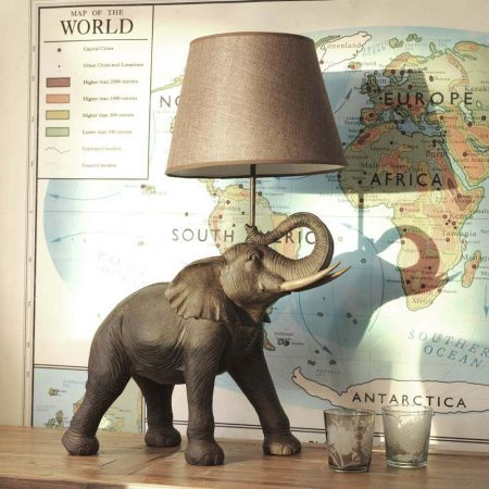 Elephant Table Lamp with Shade