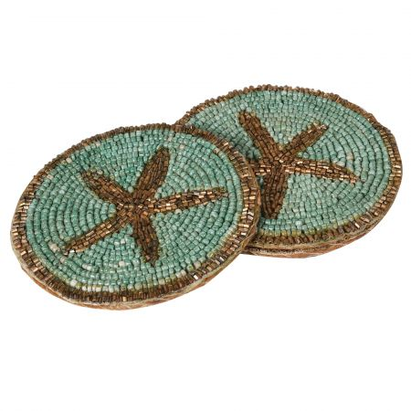 Set of Four Beaded Star Coasters
