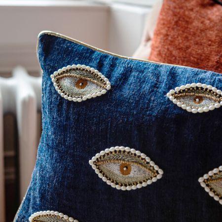 Blue Eye Print Cushion