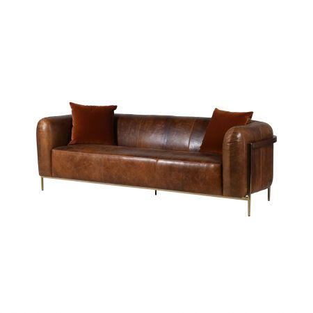 Quentin Brown Leather Sofa