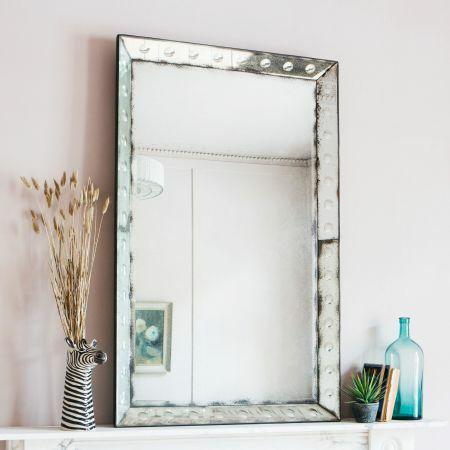 Rectangular Antique Bubble Mirror