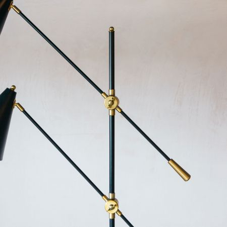 Black Metal Twin Floor Lamp
