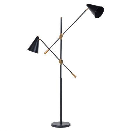 Black Metal Twin Floor Lamp
