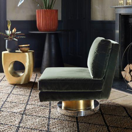 Corinne Green Velvet Swivel Chair