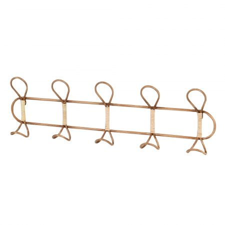 Rattan and Iron Coat Hooks