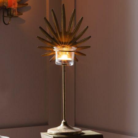 Large Gold Palm Tea Light Holder
