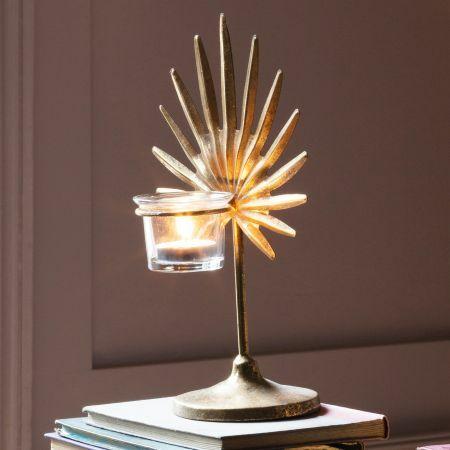 Small Gold Palm Tea Light Holder