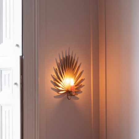 Gold Palm Candle Holder Wall Sconce