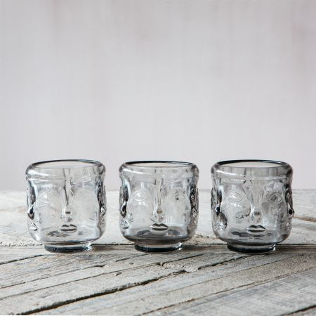 Set of Three Glass Face Candle Holders