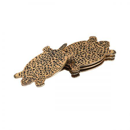 Set of Four Leopard Coasters