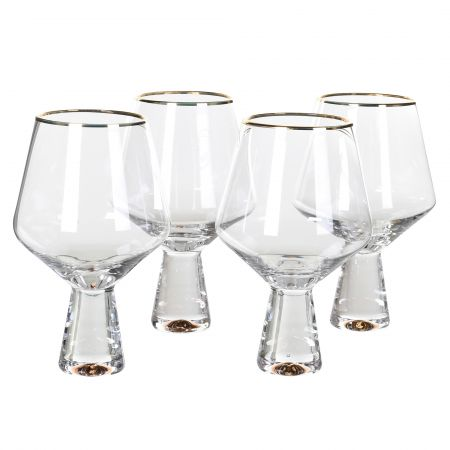 Set of Four Gold Rim Gin Glasses