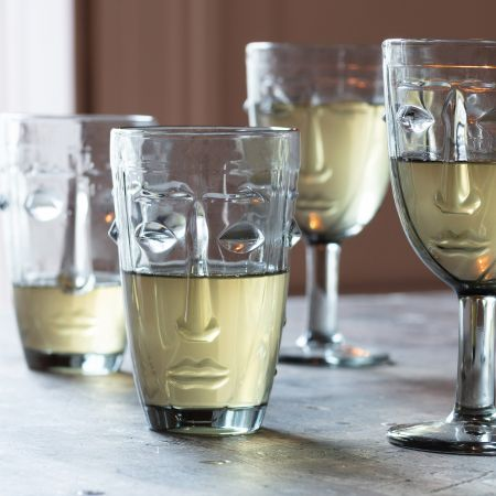 Set of Four Grey Face Tumblers