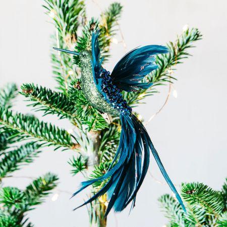 Blue and Green Glitter Hummingbird Clip