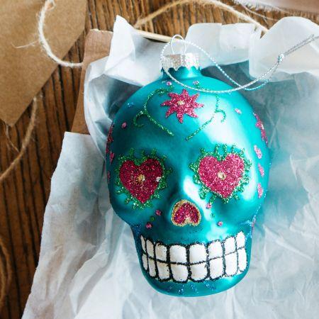 Blue Glitter Skull Bauble
