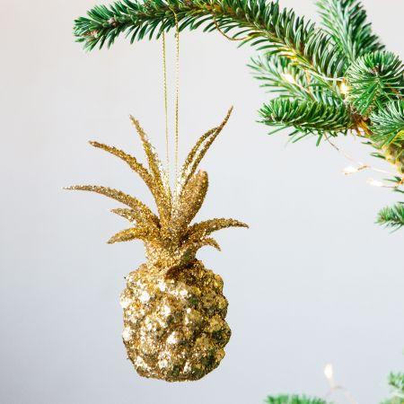 Gold Glitter Pineapple Decoration