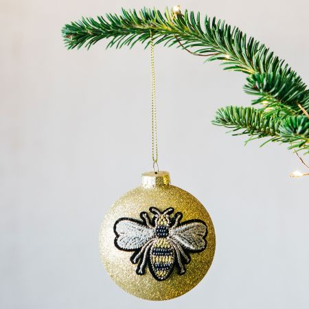 Gold Embroidered Bee Bauble