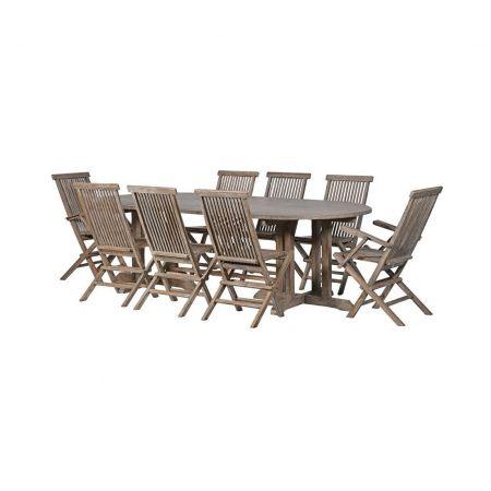 Grey Teak Large Garden Table
