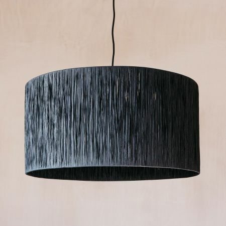 Black Raffia Pendant Light