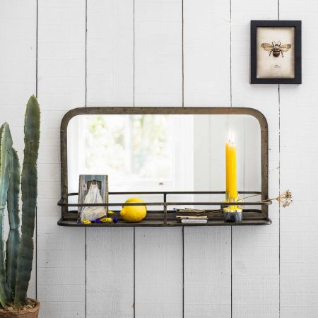 Industrial Wall Mirror with Shelf