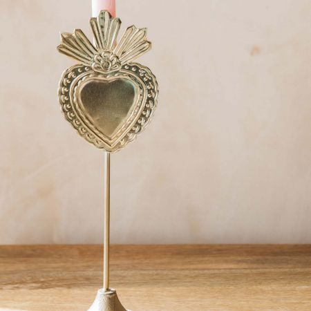 Gold Heart Candle Holder