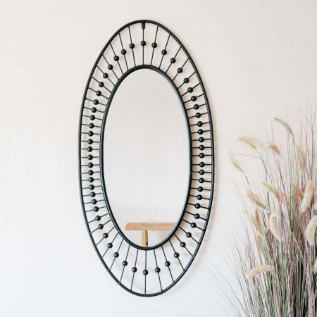 Black Pearl Oval Mirror