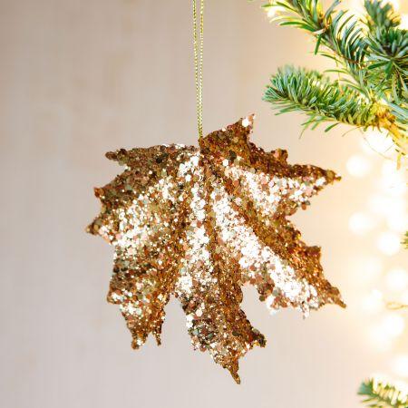 Gold Glitter Maple Decoration
