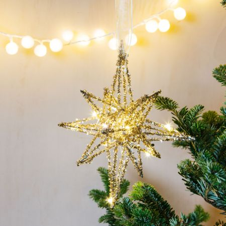Light Up Gold Glitter Star Decoration