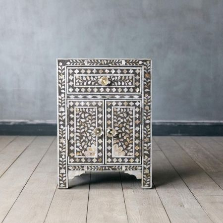Classic Grey Mother of Pearl Bedside Table