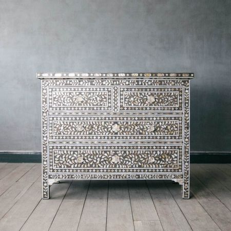 Classic Grey Mother of Pearl Chest of Drawers