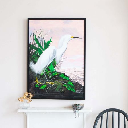 Small Framed Pink Sky Heron Print