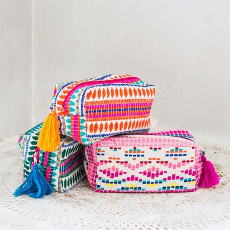 Pink Embroidered Pouch