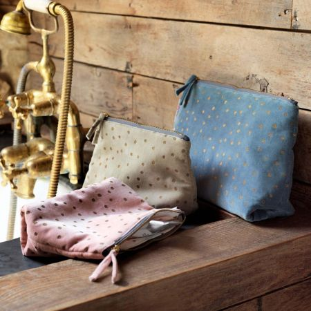 Blue Dotty Velvet Wash Bags