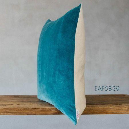 Large Light Blue Velvet and Linen Backed Cushion