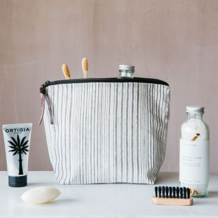 Annika Woven Stripe Large Wash Bag