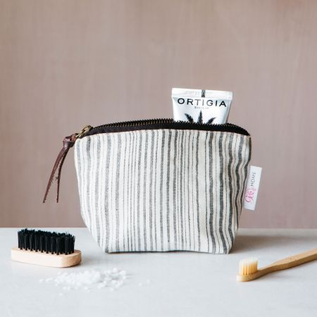 Annika Woven Stripe Small Wash Bag