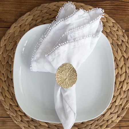 Brass Lily Pad Leaf Napkin Ring