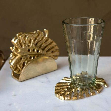 Set of Four Brass Palm Leaf Coasters