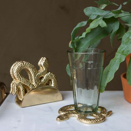 Set of Four Brass Snake Coasters
