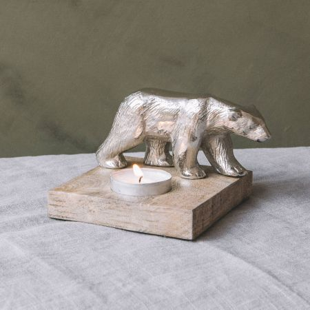 Silver Bear Tea Light Holder